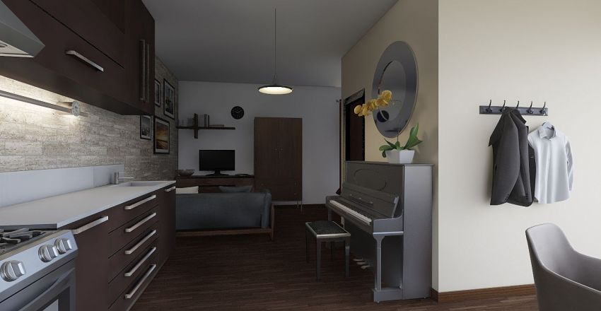 Small Croatian apartment Interior Design Render