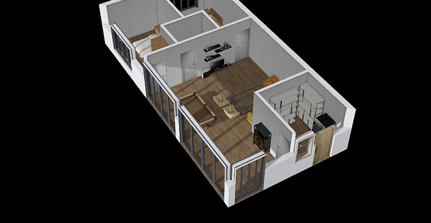 modern basement Interior Design Render