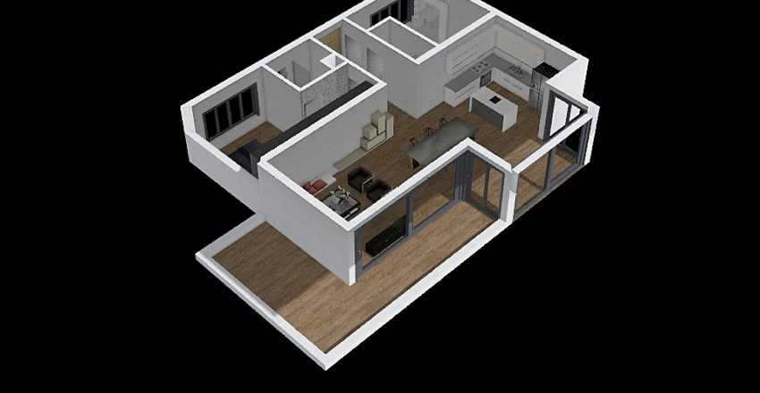 new modern upper floor Interior Design Render