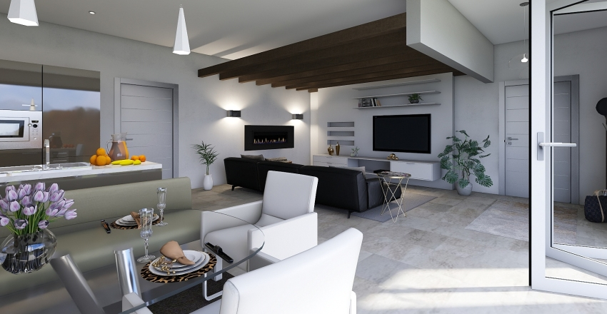 Modern living Interior Design Render