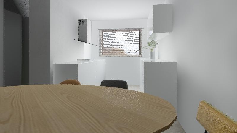 kuchnia obie str niskie mala lodówka Interior Design Render