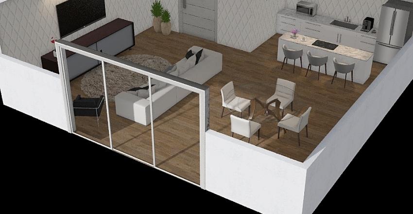 Sala e cozinha  Interior Design Render