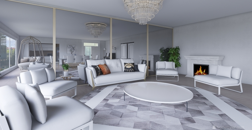 offwhite living room Interior Design Render