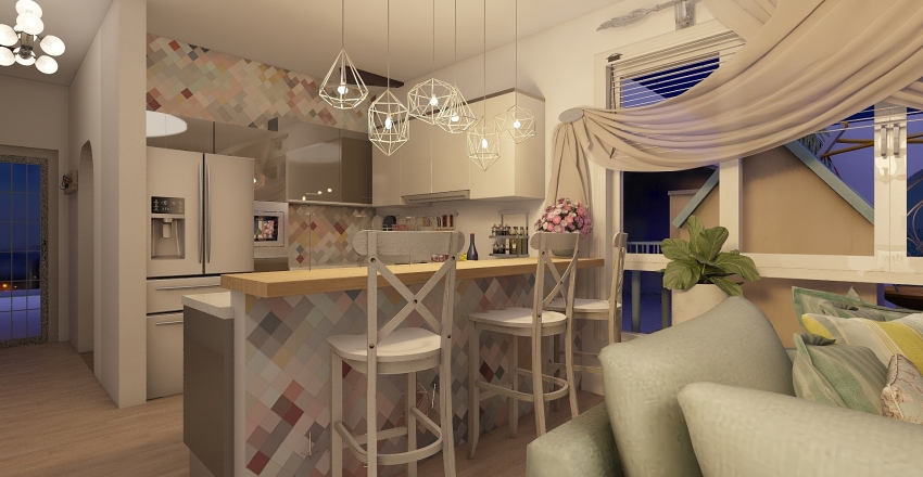 small house by the beach Interior Design Render