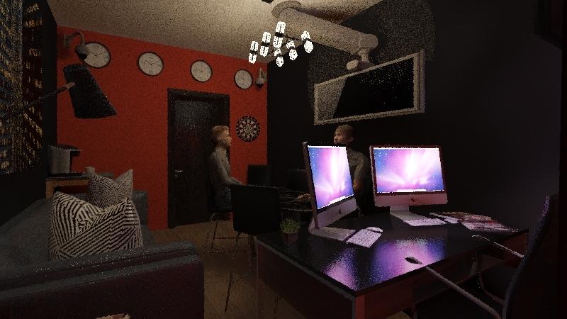 DFWI Radio Studio Interior Design Render