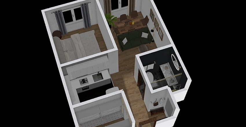 uno city house 1A 45sqm Interior Design Render
