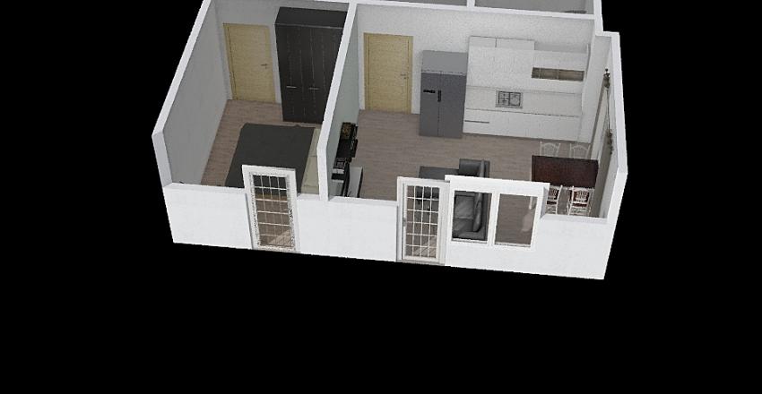 Plan mieszkania ściany + drzwi Interior Design Render
