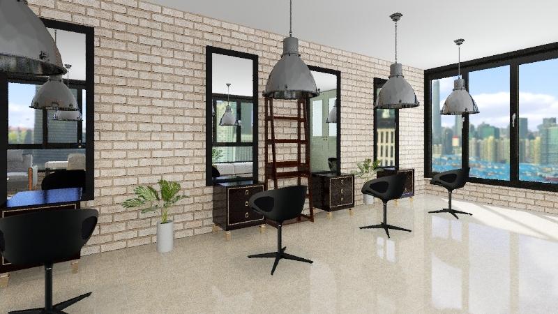Barbería Interior Design Render