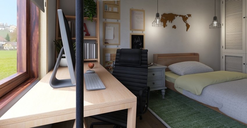 Quarto de Solteiro Interior Design Render