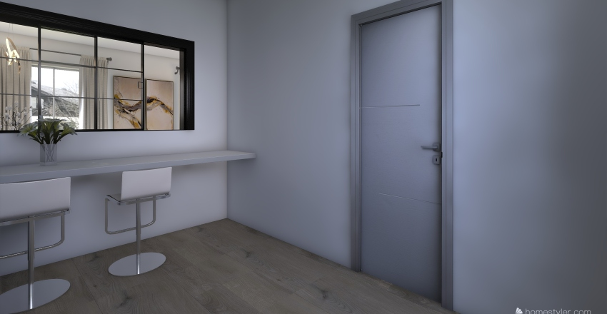 The greige House- Closed kitchen option Interior Design Render