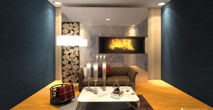 kahve pembe Interior Design Render