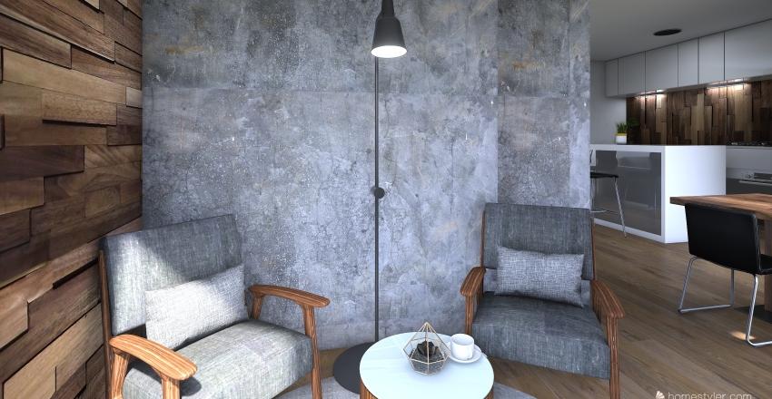 Modern Farmhouse. Interior Design Render