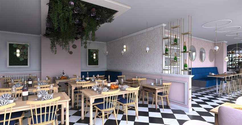 cafe M Interior Design Render