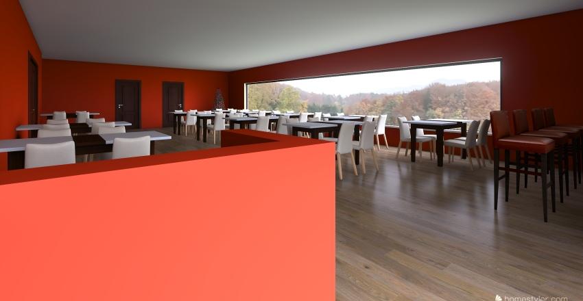 Retro Restaurant Interior Design Render