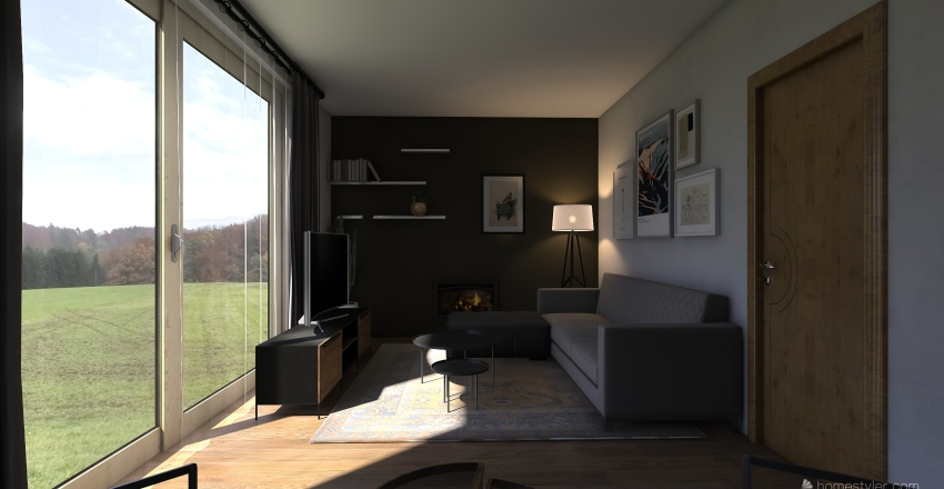 Long and narrow living room Interior Design Render