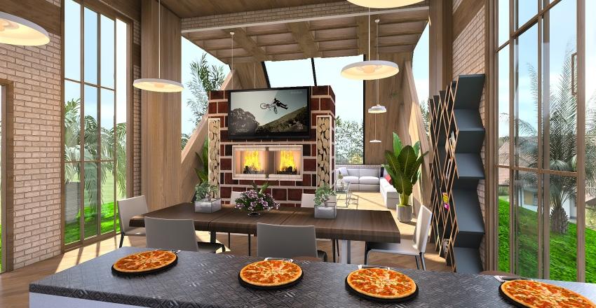 casa a vetro Interior Design Render