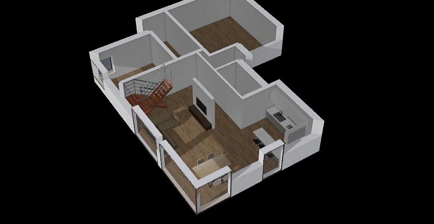 dom z antresola Interior Design Render