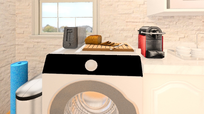 small and calid apartament Interior Design Render