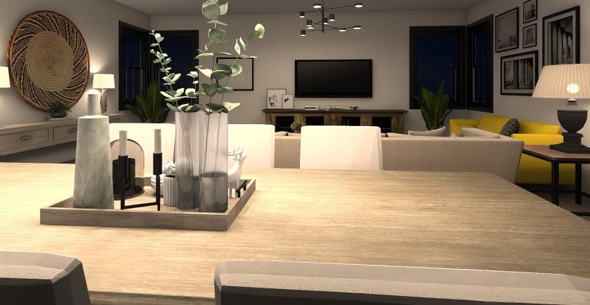 Salon madera-negro-mostaza Interior Design Render