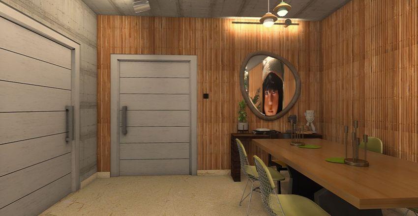 Sala de Estar e Jantar - Natureza Tropical Interior Design Render
