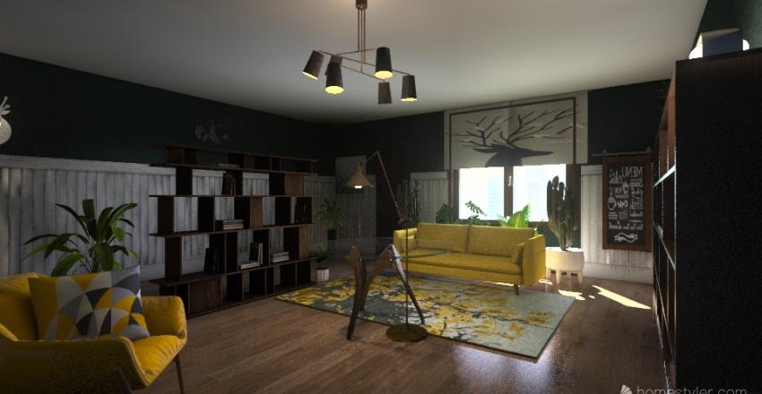 Гранж гостинная молодая пара Interior Design Render