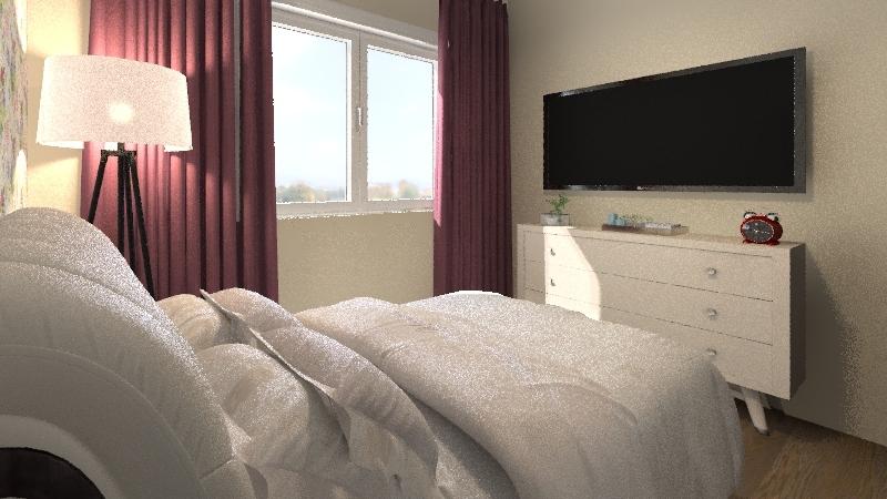 Planta Modelo Apartamento, Proposto em um edifício de Habitação coletiva. Interior Design Render
