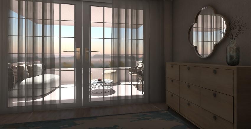 airbnb double bedroom with balcony Interior Design Render
