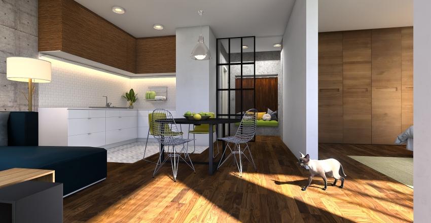 wood & green Interior Design Render