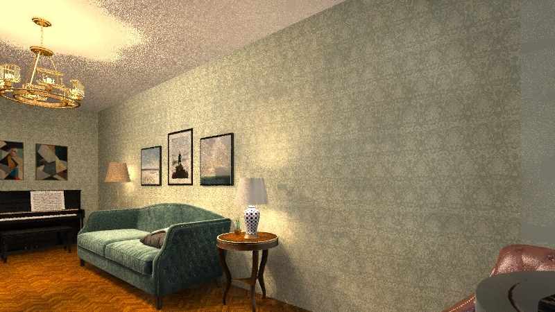 living room with piano Interior Design Render