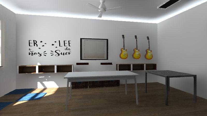 Salon musica y arte Interior Design Render
