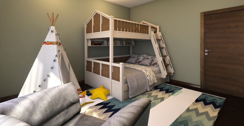 Casa com cozinha pequena Interior Design Render