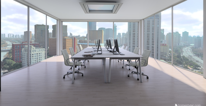 office in the city Interior Design Render