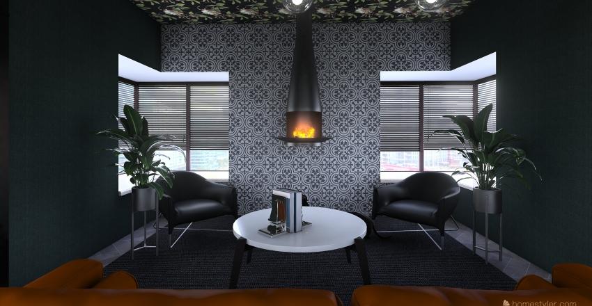 Moody Living Room Interior Design Render