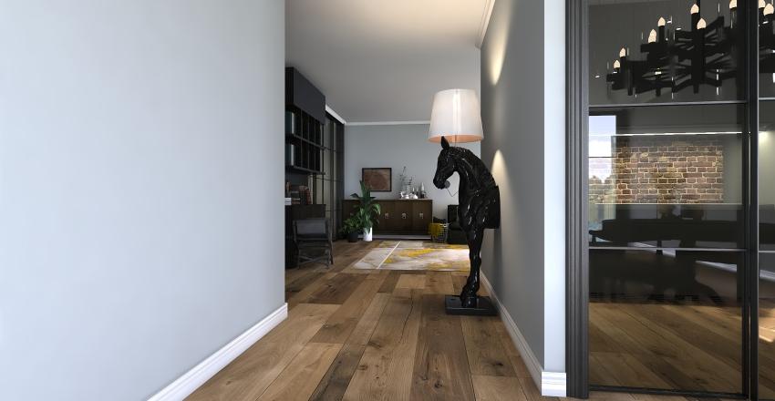 black and yellow Interior Design Render