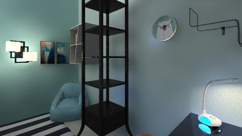 KAMAR TEMA BIRU Interior Design Render