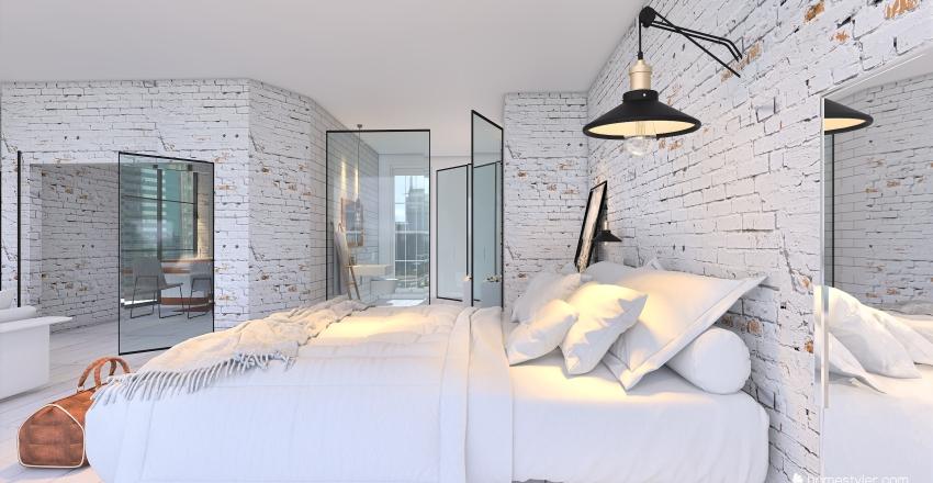 All white studio apt Interior Design Render