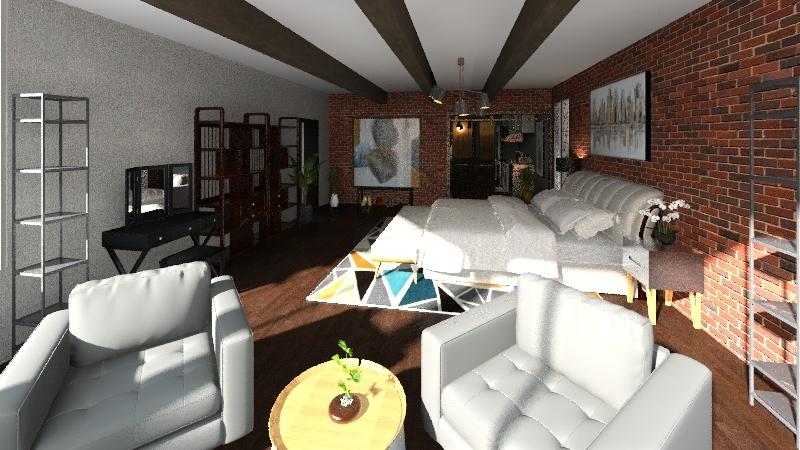 Industrial Bedroom Interior Design Render
