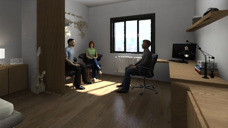 Studentský pokoj Interior Design Render