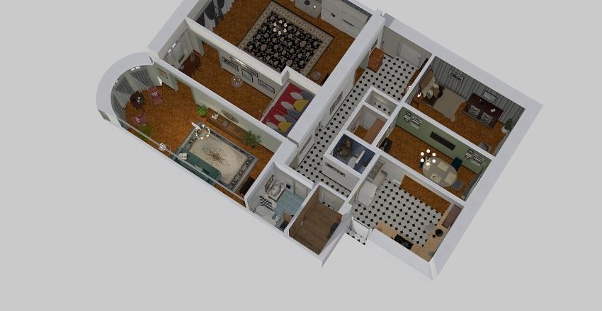 Finish version of the flat - 5 rooms Interior Design Render