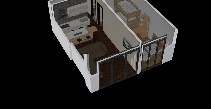 2 rooms aparment Interior Design Render