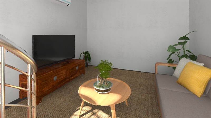 Japanese Style Living Room Interior Design Render