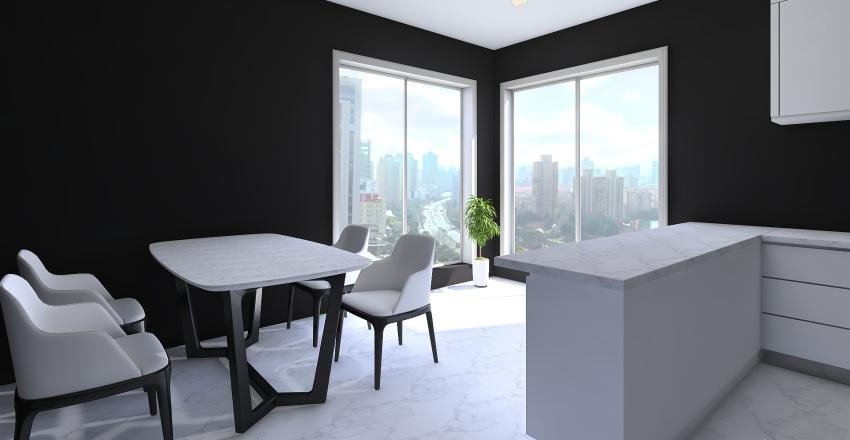 black & white home Interior Design Render