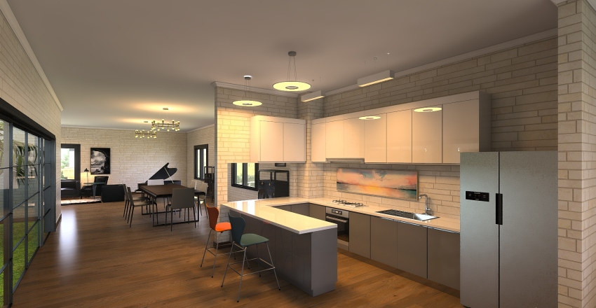 Courtyard Home  Interior Design Render