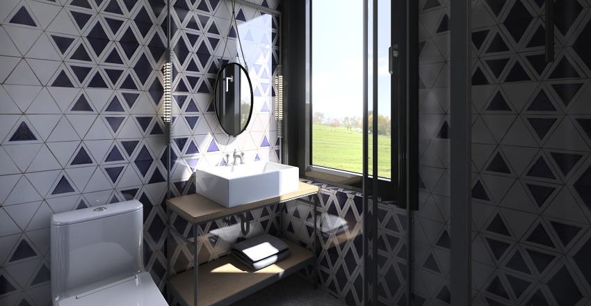 My room and mini bathroom Interior Design Render