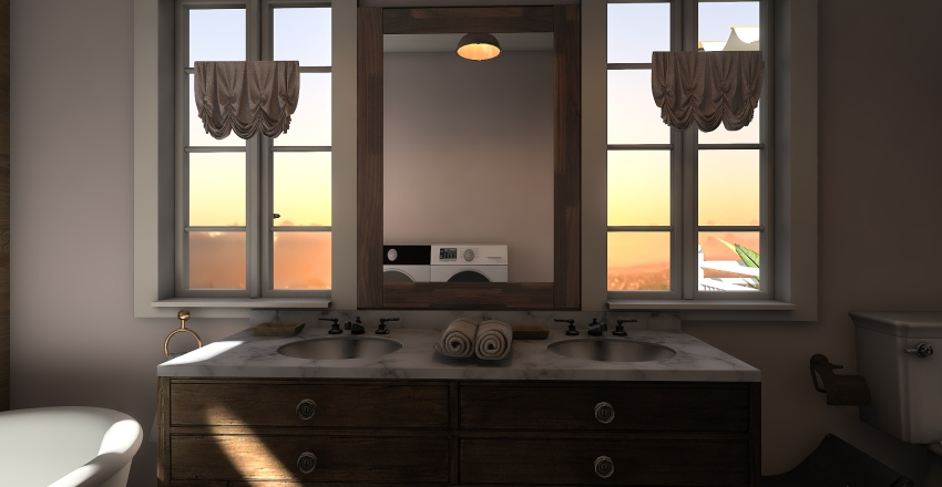 country house, one floor and balcony Interior Design Render