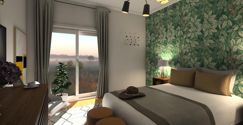 Vibrant and Tropical bedroom makeover  Interior Design Render