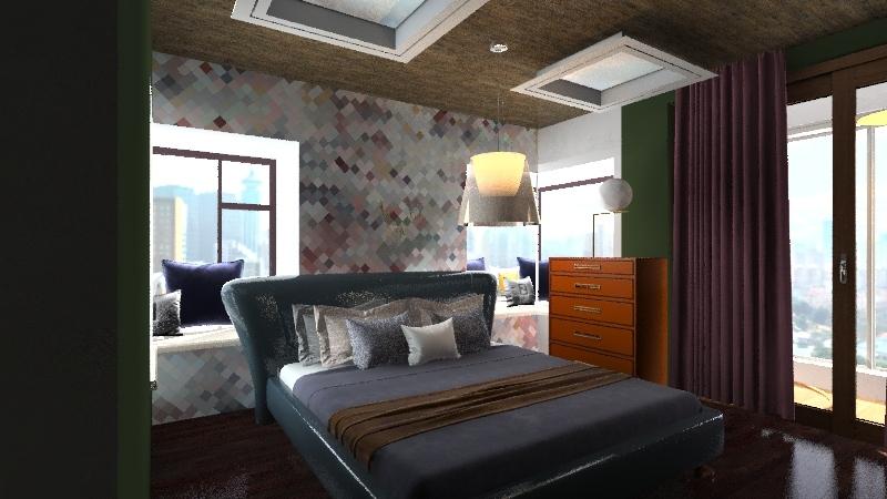 2 bed 1 bath city house  Interior Design Render