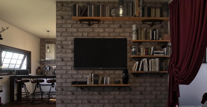one-room apartment Interior Design Render