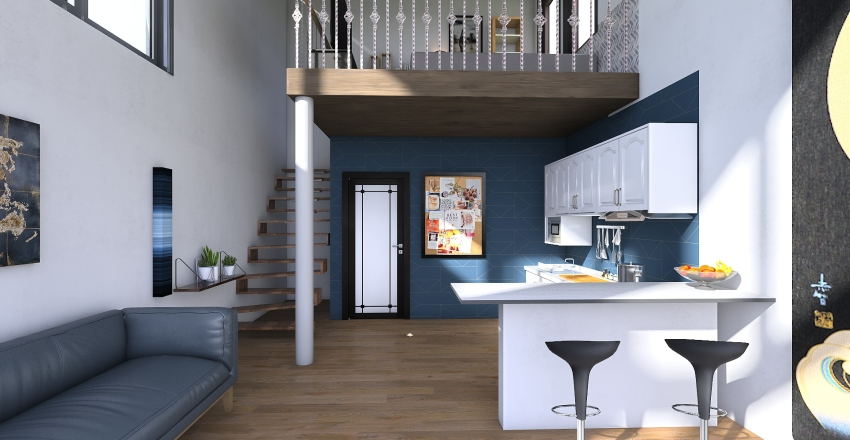 Blue is the Warmest Color (Tiny House) Interior Design Render