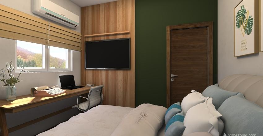 quarto com home office Interior Design Render